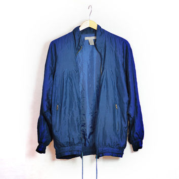 90s Vintage Silk Oversized Bomber Jacket - Navy Blue - Small - Medium - Large - Pure Silk - Unisex