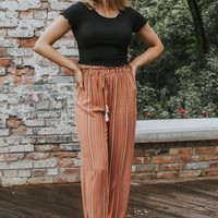 Striped High Waisted Pants, Rust