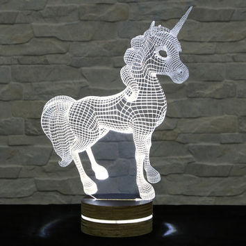 Unicorn Horse Shape, 3D LED Lamp, Home Decor, Table Lamp, Office Decor, Plexiglass Lamp, Decorative Lamp, Nursery Light, Acrylic Night Light