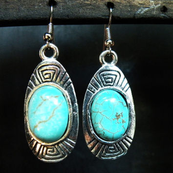 Turquoise Aztec Earrings Southwestern Jewelry