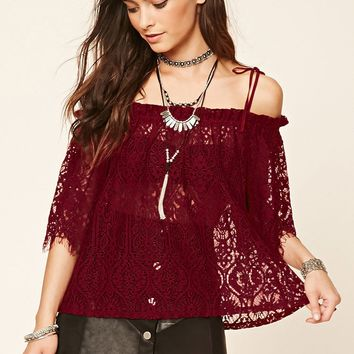 Open-Shoulder Eyelash Lace Top