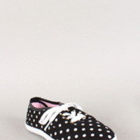Wild Diva Lounge Canvas Polka Dot Lace Up Sneaker