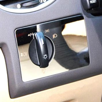 Car sticker stainless steel headlight switch cover stickers for Ford focus 2 3 2005 2006 2007 2008 2009 2010 2011 accessories