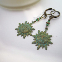 Sun Charm Earrings by 636designs on Etsy