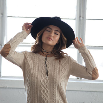 Elbow Patch Cable Knit Sweater