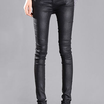 Black High-Waisted PU Leather Pants with Pockets