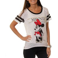 Disney Minnie Juniors Hi-Low Football Tee with Contrast Neckline - Walmart.com