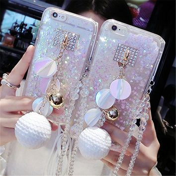For iPhone 5 6 6S 7 8 Plus X Luxury bling Snowball rhinestones Phone Case