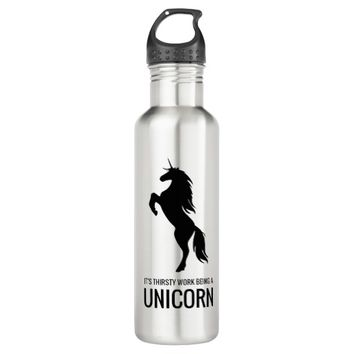 Thirsty Work Being a Unicorn | Funny Gym Stainless Steel Water Bottle