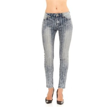 Painted Pin Stripe Faded Wash Jeans 2 Colors