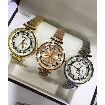 Dior Fashion Women Business Movement Watch Luxury Butterfly Pattern Wrist Watch(5-Color) I-CTZL