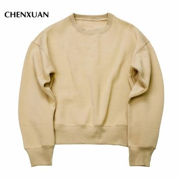 CHENXUAN 2017 NEW Sweatshirts simple solid men's Hoodies oversize drooping shoulders men's tops KANYE WEST Sweatshirts