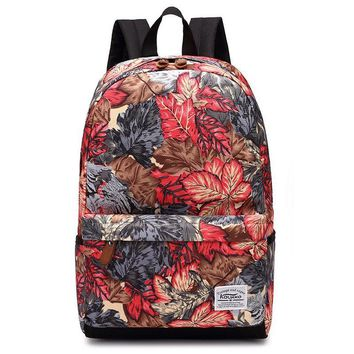Maple Leaf Leaves Printing Young Retro Backpack Teenage Girls Polyester School Bags Lady Fashion Mochila Back Pack Travel Bag