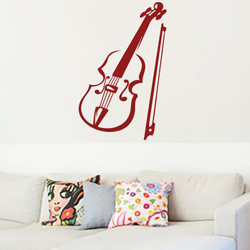 Violin Vinyl Decals Wall Sticker Art Design Living Room Modern Stylish Bedroom Nice Picture Home Decor Hall  Interior ki614