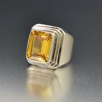 Vintage Silver Yellow Citrine Modernist Statement Ring