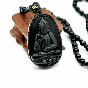 Yumten Natural Black Obsidian Buddha Pendant Necklace Trendy Women's Jewelry Bead Necklace Jade Woman Men Crystal Necklaces Buda
