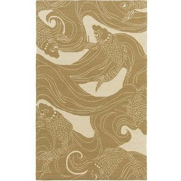 Koi Fish Modern Khaki Outdoor Rug