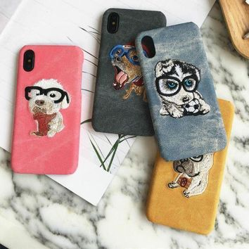 CREYIH3 Dog hand-embroidered hand-case iphone X half bag iphone8 7plus shell cartoon cute hanging rope