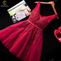 2016 New Sexy Short Cocktail Dresses Bridal Banquet Wine Red Lace Backless Party Formal Dress Homecoming Dress Robe De Soiree
