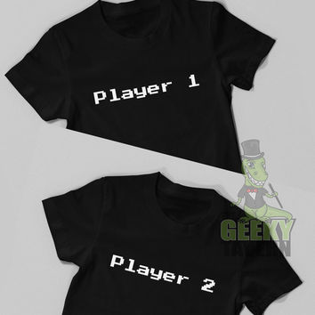 Video Game Shirt, Player 1 & 2 T Shirts, Couples Matching TShirt Set, Funny Tee, Matching Shirts, Couples Shirts, Geek, Geeky, Men Plus Size