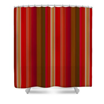 Red and Gold Stripes Shower Curtain