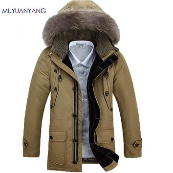 Men Duck Down Coat Fur Hooded Winter Warm Down Jackets For Man Thick Outwear Clothing