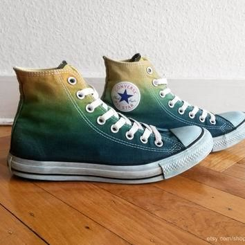 Forest green ombre Converse, dip dye upcycled sneakers, All Stars, Chucks, uk 7 (eu 40