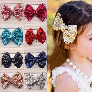 Hot 1PC Girl Baby Kids shiny Toddlers Headwear Sequin Bowknot Hairpin Hair Clip Hair Jewellery