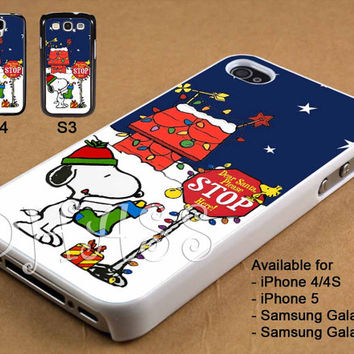 Snoopy Christmas Deer Santa Please Stop Here Design for iPhone 4/4s/5 Case, Samsung Galaxy S3/S4 Case