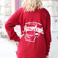 U of A Razorback Nation Jersey Shirt {Deep Red}