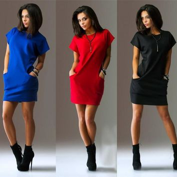 Short Sleeves Solid Color Scoop Short Dress with Pocket
