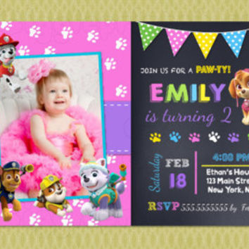 Girl Paw Patrol Birthday Invitations - Paw Patrol Invitations - DIY Printable - Pink - Girl - Skye