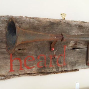 Heard Altered Salvaged Repurposed Art Mixed Media Collage 1920s Car Horn on Salvaged Barn Wood Rustic Decor
