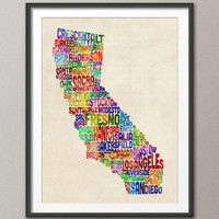 California Typography Text Map, Art Print 18x24 inch (281)