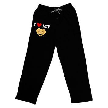 I Heart My - Cute Golden Retriever Dog Adult Lounge Pants - Black by TooLoud