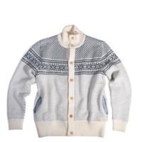 72305 Norwegian Wool Button Cardigan - Nature/Navy