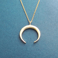 Horn, Gold, Necklace, Modern, Horn, Horseshoe, Necklace, Birthday, Best friends, Sister, Gift, Jewelry