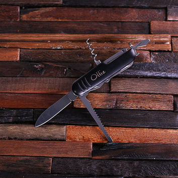 Personalized Ultility Pocket Knife – 11 Tools in Black