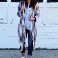 Mad For Plaid Lightweight Cardigan {Light Pink}