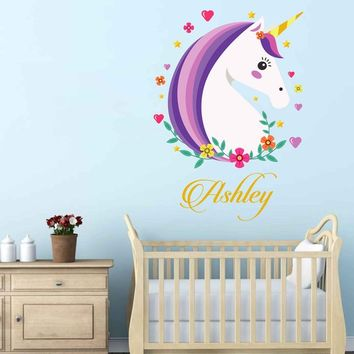 Personalized Name Unicorn Wall Decal Custom Name Unicorn Wall Sticker Vinyl Decal Monogram Girls Room Children Nursery Wall Decor cik2259
