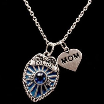 Blue Police Shield Badge Mom Heart Gift For Law Officer Mother Charm Necklace