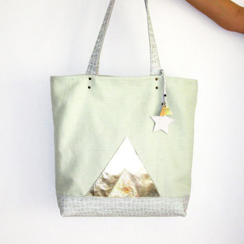 Spring Sale, Pastel Mint Leather Canvas Shopper, Holographic Tote, Metallic Bag, Geometric Hobo Bag, Laptop Purse, Mother's Day Gift