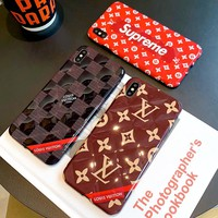 Free Shipping-LV & Supreme Stereo Necklace IPHONE X Mobile Shell