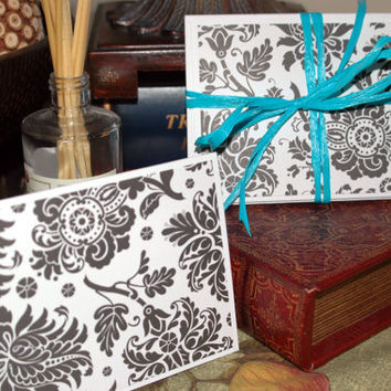 Handmade Cards Black and white floral damask by ecoPaperie