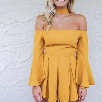 Te Amo Mustard Romper With Choker Neck
