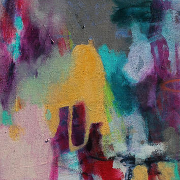 """Small Abstract Painting Purple Gray 14x11 Modern Art Original """"Strength at the Point of Need"""""""