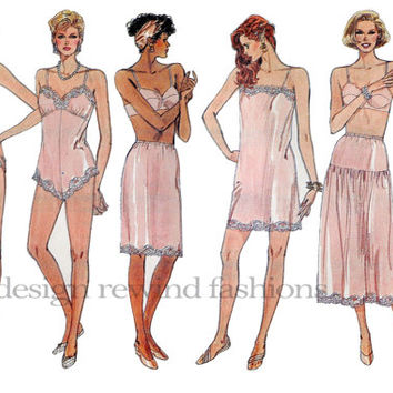 1980s LINGERIE Camisole Teddy Half Slip Panties Vogue 9765 Size Petite Small Medium Bust 30.5 31.5 32.5 34 36 UNCUT Vintage Sewing Patterns