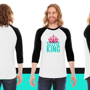 Selfie King American Apparel Unisex 3/4 Sleeve T-Shirt