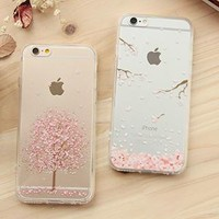 iPhone 6 Cherry Blossom Print Transparent Case