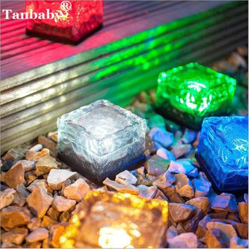 Tanbaby 4pcs Solar Powered Crystal Brick LED Night Lamp Light Sensor Glass Stone Ice Cube Waterproof for Garden Patio Pool Pond